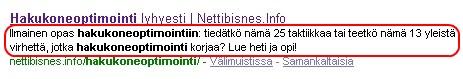 Tämän sivun meta-description Googlessa