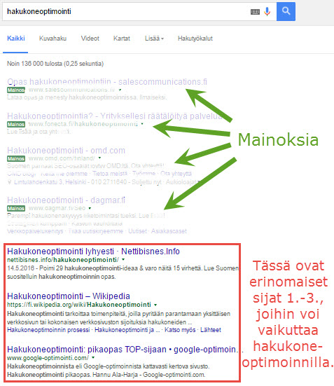 """Google-hakutulos: """"hakukoneoptimointi"""""""